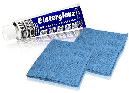 Helmecke & Hoffmann * Elsterglanz Universal-Polierpaste für Metalle XXL-Tube 150 ml + Zwei Mikrofaser-Tücher | Das Original aus Deutschland
