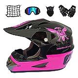 MRDEAR Casque Motocross Femme - Noir et Rose - 5 Pcs - Casque Downhill Casque BMX...