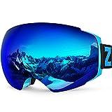 ZIONOR X4 Ski Snowboard Snow Goggles Magnet Dual Layers Lens Spherical Design Anti-Fog UV Protection Anti-Slip Strap for Men Women (VLT 13.67% Light Blue Frame Revo Blue Lens)