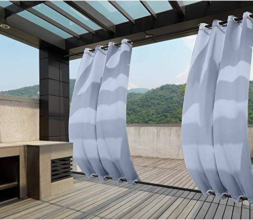 Clothink Outdoor Vorhänge Aussenvorhang B:132xH:275cm mit Ösen Oben(ID:4cm)+Unten(ID:4cm) Winddicht Wasserabweisend Sichtschutz Sonnenschutz UVschutz Hellblau