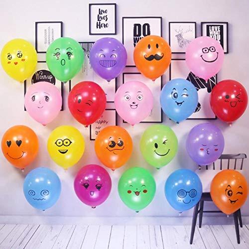 Scrox 100x Globos Decorativos de Celebración de Fiesta Color Sonrisa Emoji Globo Adecuado para abrir Tiendas Tienda de Decoración