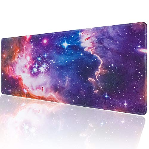 Marphe Customized Galaxy Nebula Large Gaming Mouse Pad Stitched Edges Extended Mat Desk Pad Mousepad Long Non-Slip Rubber Mice Pads