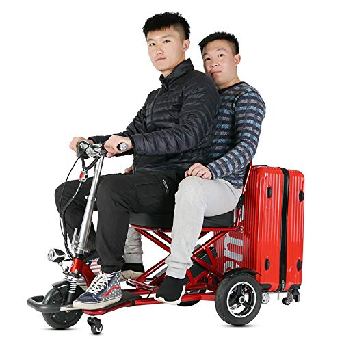 YF-Mirror Scooter Mobility Folding Electric Mobility Scooter 3 Wheel Lightweight Portable Power Travel Scooters - Support 300 lbs Weight, Dual Battery and Motor Long Range