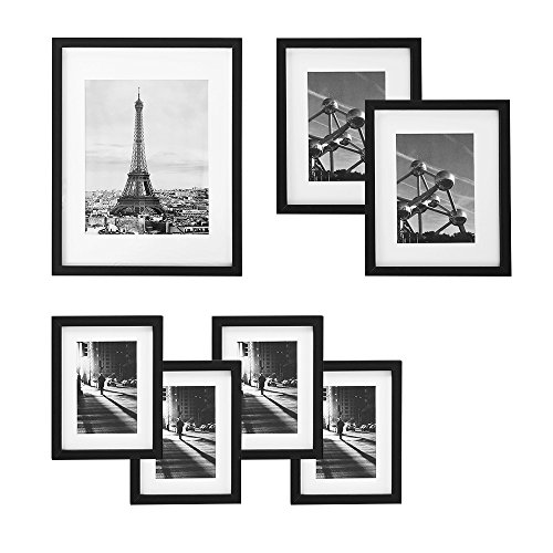 SONGMICS Picture Frames Set of 7 Pieces, One 11x14, Two 8x10, Four 6x8, with White Mat & Real Glass, for Multiple Photos, Black Wood Grain, URPF37BK