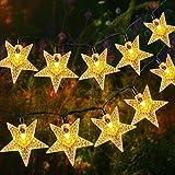 18M Solar Lichterkette Außen, OxyLED 110 LED Lichterkette Sterne Solar Lichterkette Aussen Weihnachtsbeleuchtung Außen Dekoration für Garten, Terrasse, Haus, Party, Hochzeit, Festival (Warmweiß)