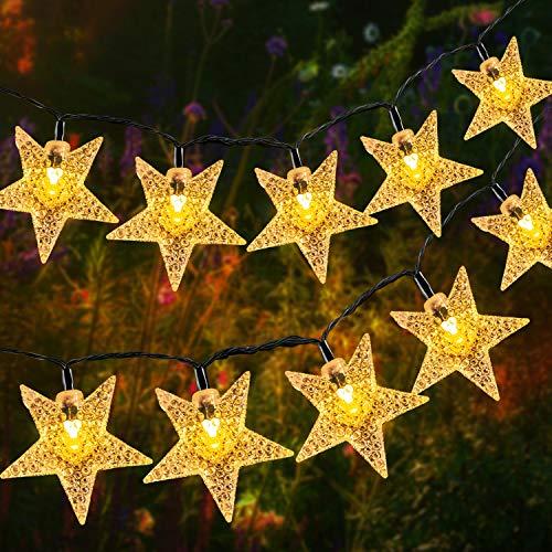 Solar Lichterkette Aussen, OxyLED 59Ft 110 LED Wasserdicht Lichterkette Sterne Weihnachtsbeleuchtung Dekoration für Garten, Terrasse, Haus, Party, Hochzeit, Festival (Warmweiß)