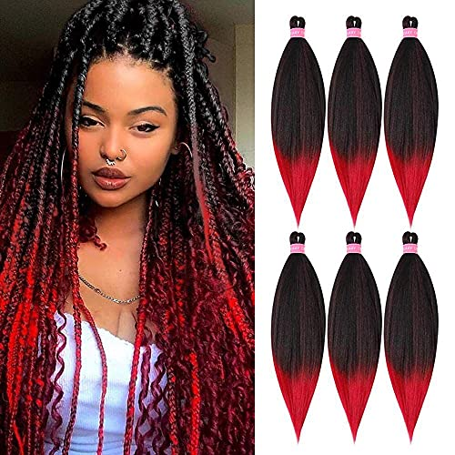 AFNOTE Per Stretched Braiding Hair Red Omber Braiding Hair 30 inch 6 Packs Long Braiding Hair Extensions Hot Water Setting Synthetic Fiber Professional Soft Yaki Texture Crochet Twist Braids Hair for Black Women(1B/Red)