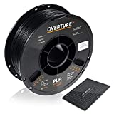OVERTURE PLA Filament 1.75mm with 3D Build Surface 200mm x 200mm 3D Printer Consumables, 1kg Spool (2.2lbs), Dimensional Accuracy +/- 0.05 mm, Fit Most FDM Printer (Black 1-Pack)