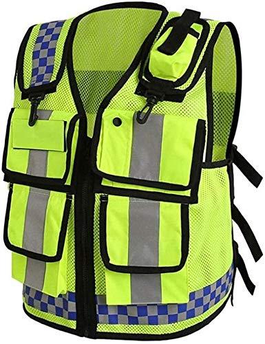 Traffic Safety Vesten Heren High Visibility Vest Geel hoge zichtbaarheid veiligheidsvest Jacket Safety Vest met reflecterende strips Politie-uniform XMJ (Size : M)