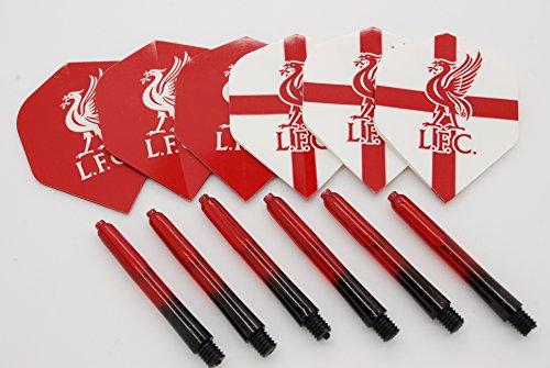 Bullydarts Liverpool FC Dart Flights und Dart Stiel Set, 4 Sets Flights / 4 Sets Stems