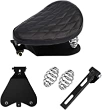 Motorcycle Black Driver Solo Seat with Base Plate Spring Mounting Brackets Kit for Harley Cruiser Bobber Chopper Custom