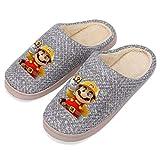HGFDHG S-uper Mari-o Bro-s - Zapatillas de algodón para hombre, para el hogar, otoño e invierno, antideslizantes, acolchadas