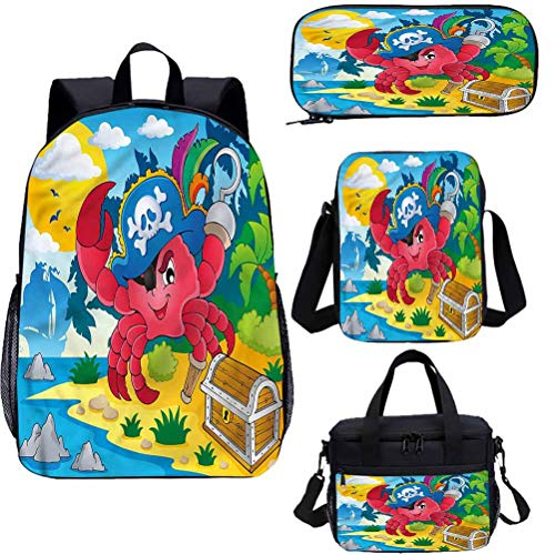 Pirate 43,2 cm zaino con borsa per il pranzo, set di astucci, motivo granchio fumetto con occhio patch Bookbags 4 in 1