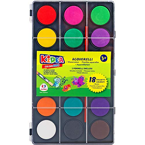 Kidea Set Acquerelli 18 Colori con 2 Pennelli, Assortiti, 38049