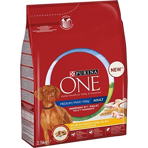 Purina One Medium/Maxi  10 kg Crocchette Cane Adult Ricco in Pollo con Riso, 4 Confezioni da 2,5 kg Ciascuna, Peso Totale 10 kg