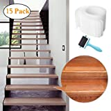 """32""""x4"""" Pre Cut Clear Non-Slip Stair Treads Tape (15-Pack) Transparent Anti Slip Safety"""