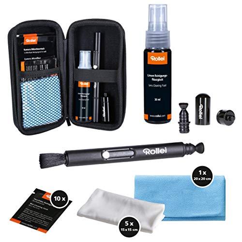 Rollei Kamera Reinigungsset Pro I Geschenk für Fotografen I Reinigungsset mit Lenspen, Mikrofasertücher, Feuchttücher & Flüssig-Reiniger