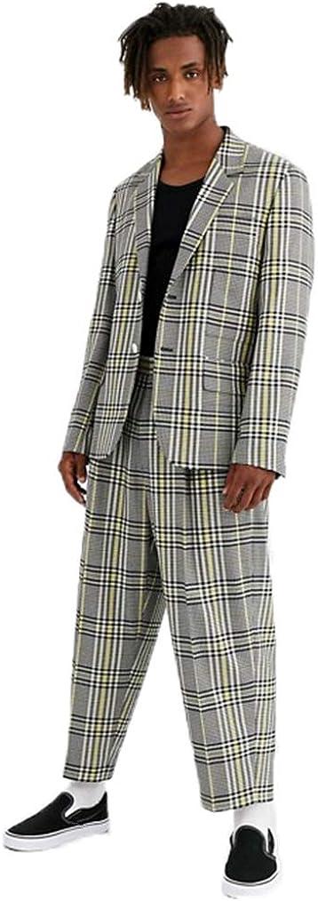 Men's Plaid Suit Outfit 2 Pockets Blazer Jacket and Wide Leg Pant