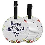 Decorative round luggage tag New Year Fashion match Rowan Cones Wild Grapes and Arborvitae Branches Composition with Happy Year Quote,Diameter3.7' Multicolor
