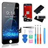 CYKJGS for iPhone 8 Screen Replacement Black LCD Display 3D Touch 4.7 Digitizer Frame Screen Repair Kit with Tempered Glass + Full Tools for A1863, A1905, A1906