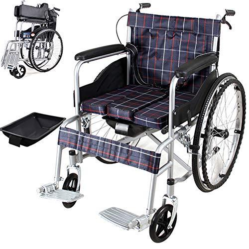 EJOYDUTY Folding Selbstfahrer Rollstuhl Leicht für Senioren, Behinderte und Behinderte Benutzer All Terrain Mobility Gerät mit Handbrems 45cm / 18inch Sitzbreite,Lattice with Potty