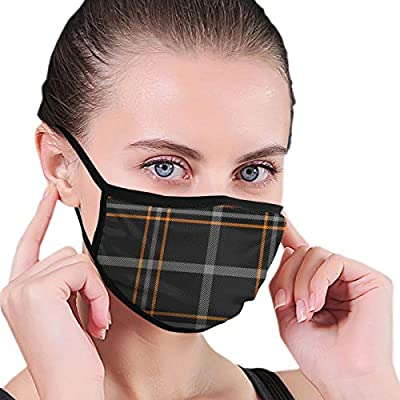 Masks Halloween tartan plaid scottish pattern orangeWashable and Reusable Mouth Mask, Anti Dust Face Mouth Cover Mask