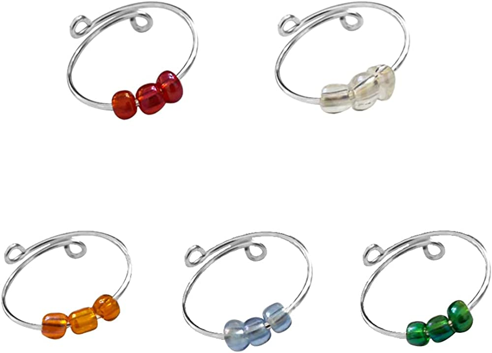 Set of 5 Spinner Fidget Colorful Glass Beads Band Ring for Anxiety for Women Girls Thin Coil Rotate Freely Inspirations Jewelry Stacking Loop Expandable Adjustable Best Friends Dainty Birthday