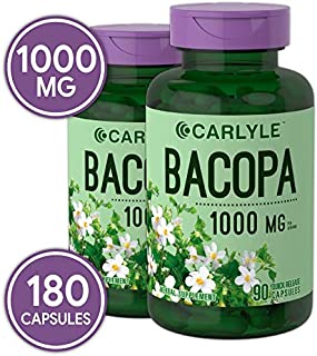 Bacopa Monnieri Capsules | 1000 mg | 180 Capsules | Non-GMO & Gluten Free | by Carlyle
