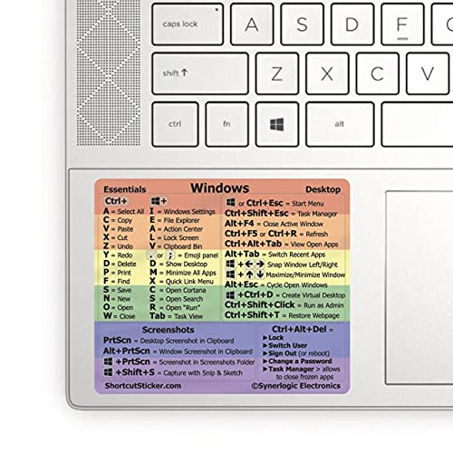 """SYNERLOGIC Pride Windows PC Reference Keyboard Shortcut Sticker - Laminated Vinyl, No-Residue Adhesive, for Any 15"""" and Larger PC Laptop or Desktop (1-Pack)"""