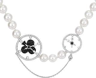 Pan•RUORA Collar para Mujer S925 Plateado Micro con Incrustaciones De Circón Reloj De Bolsillo Collar De Perlas Regalo De Cumpleaños
