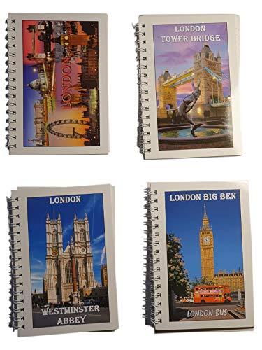 Londen fotos notebooks set van 12 - A6 formaat/draadgebonden notitieblokken / 3 met oriëntatiepunten fotocollage / 3 met torenbrug/3 met Westminster Abdij/3 met Big Ben en Red Double-Decker Bus