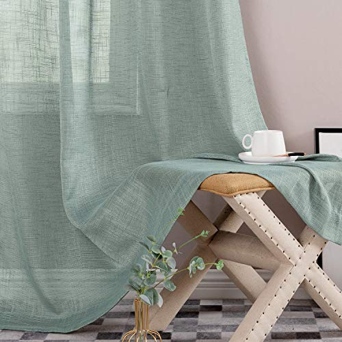 Linen Textured Sheer Curtains Rod Pocket Drapes for Bedroom Curtains 95 inches Length for Living Room Window 2 Panels Blue Haze