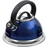 Creative Home 77017 Alexa 3 Quart Stainless Steel Whistling Tea Kettle, Metallic Cobalt
