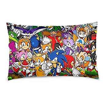 DERMOKA Sonic Pillowcases Soft Comfortable 20 X 30 Inch Throw Pillow Cover Cushion Cover for Bedding Living Room Sofa School Dormitory Cushion Cover Home Decoration Gifts for Boys Girls