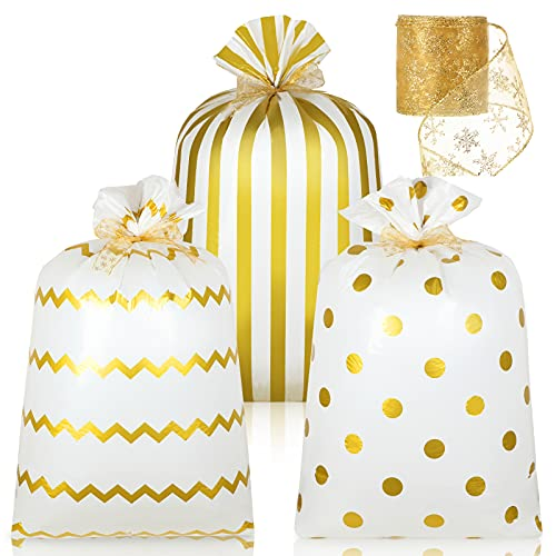 3 Bolsas Grandes de Plástico de Regalo con Cinta de 56 x 36 Pulgadas Bolsas de Envolver con Rayas Lunares Redondos y Chevrones para Navidad Cumpleaños y Bodas (Oro)