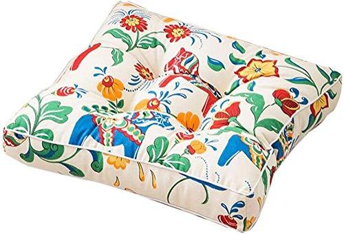 Jilibaba Galettes de chaise en toile imprimée, coton Tatami futon - Coussin de sol épais pour chaise de bureau, étudiant, décoration d'intérieur - 45 x 45 cm