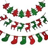 Jrancc Bandera no Tejida de Navidad 3 Paquetes Estandarte no Tejido Árbol De Navidad Medias Reno Varios para Decoración de Fiestas al Aire Libre en Interiores