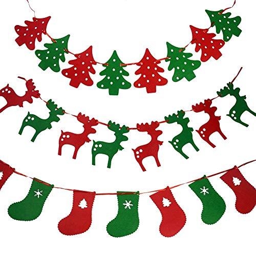 Jrancc Weihnachten Hängende Flagge 3 stück Weihnachtsgirlande Banner Nicht Gewebt Weihnachtsbaum Strümpfe Rentier Banner für Weihnachtsbaum Kaminwand Dekorationen