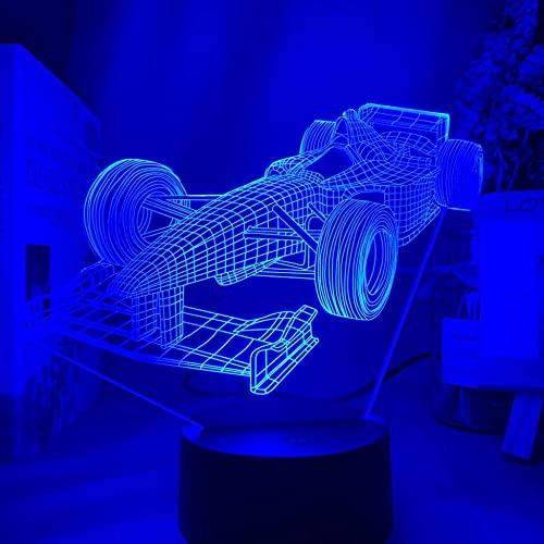 Lámpara de noche 3D Vehículo F1 Fórmula 1 Coche de carreras Ilusión Led para dormitorio infantil Luz nocturna decorativa Regalo único para habitación de niños Lámpara de escritorio-Fernbedienu