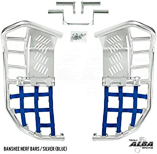 Yamaha Banshee YFZ 350 (1987-2006) Propeg Nerf Bars Silver with Blue Net (More Net Color Choices Available)