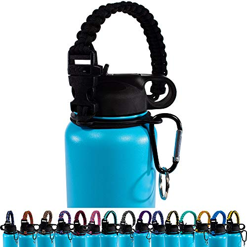 PARACORD PLANET Paracord Water Bottle Handle – 12oz to 64oz - Wide Mouth Water Bottles – Sturdy Carrier, Paracord Strap with Safety Ring and Carabiner – Best Handle Straps for Water Bottles