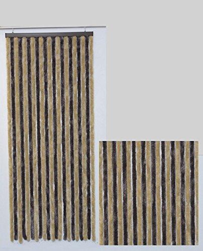 Rideau de Porte Chenille Bicolore Taupe et Beige (Largeur 090 cm x Longueur 210 cm)