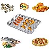 Bestonzon teglia con griglia in acciaio INOX tostapane teglia da forno, con griglia di raffreddamento 26x 20x 2.5cm