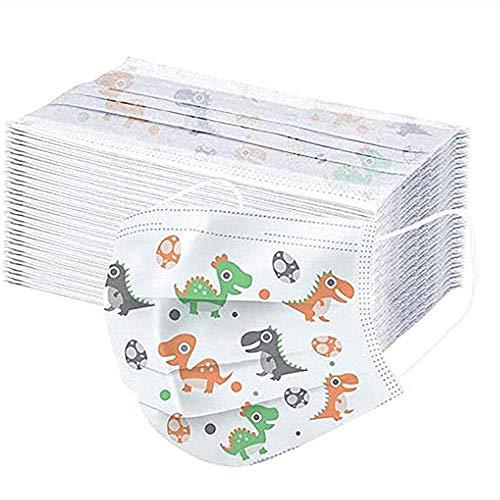 Walea Bandanas Desechables Protectoras para niños, impresión de Dinosaurio de Dibujos Animados, Gancho para la Oreja de 3 Capas, 50PC (A 50pcs)