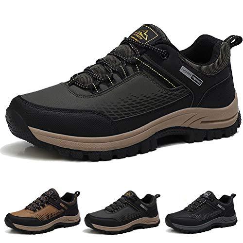 ISOOUS Wanderschuhe Herren Wasserdicht Trekkingschuhe Leicht rutschfest Sports Outdoor Hiking Sneaker Armee-Grün 43