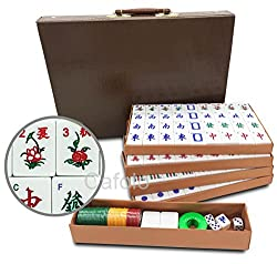 "Chinese Mahjong X-Large 144 Numbered Melamine Tiles 1.5"" Large Tile with Carrying Travel Case Pro Complete Mahjong Game Set"