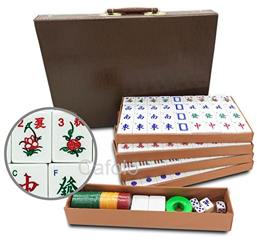"""Mose Cafolo Chinese Mahjong X-Large 144 Numbered Melamine Tiles 1.5"""" Large Tile with Carrying Travel Case Pro Complete Mahjong Game Set - (Mah Jong, Mahjongg, Mah-Jongg, Mah Jongg, Majiang)"""