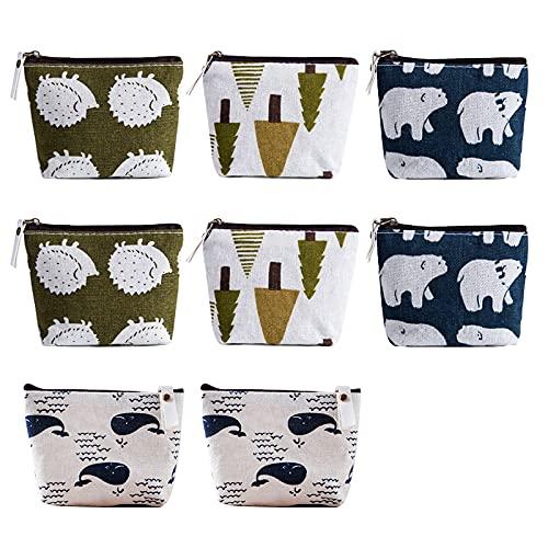 Geoyien Täschchen mit Reißverschluss, 8 Stück Segeltuch Kosmetiktasche Münzbeutel Mini Kosmetikbeutel Klein Schminktasche Münztaschen für Frauen und Mädchen