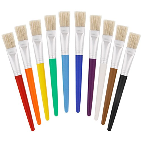 US Art Supply 10 Piece Large Flat Chubby Hog Bristle Childrens Tempera and Artist Paint Brushes