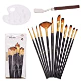 GORGECRAFT Acrylic Paint Brushes Set 12Pcs Round Pointed Tip Nylon Hair Paintbrushes with Paint Tray and Palette Knife for Acrylic Watercolor Oil Painting